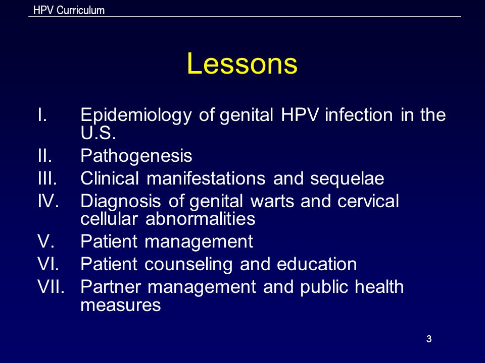 Lessons Epidemiology of genital HPV infection in the U.S. Pathogenesis