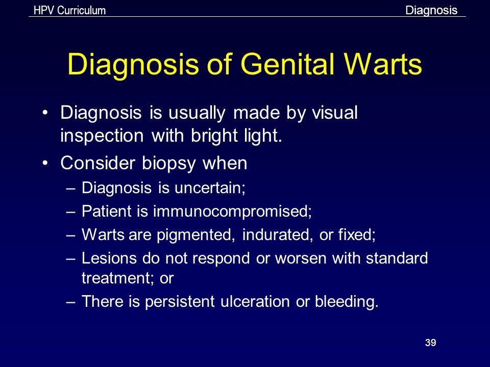 Diagnosis of Genital Warts
