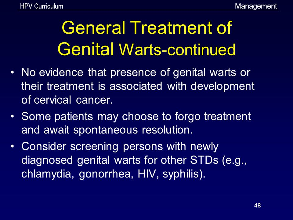 General Treatment of Genital Warts-continued