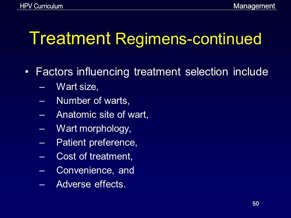 Treatment Regimens-continued