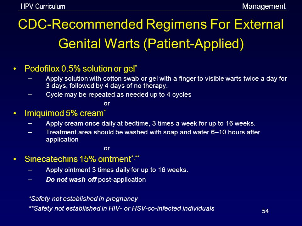 CDC-Recommended Regimens For External Genital Warts (Patient-Applied)