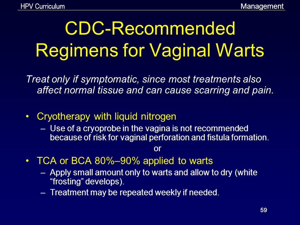 CDC-Recommended Regimens for Vaginal Warts