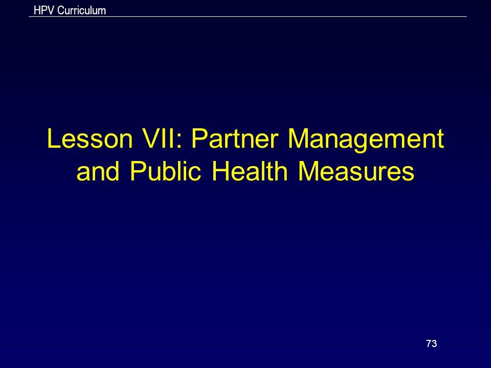 Lesson VII: Partner Management and Public Health Measures