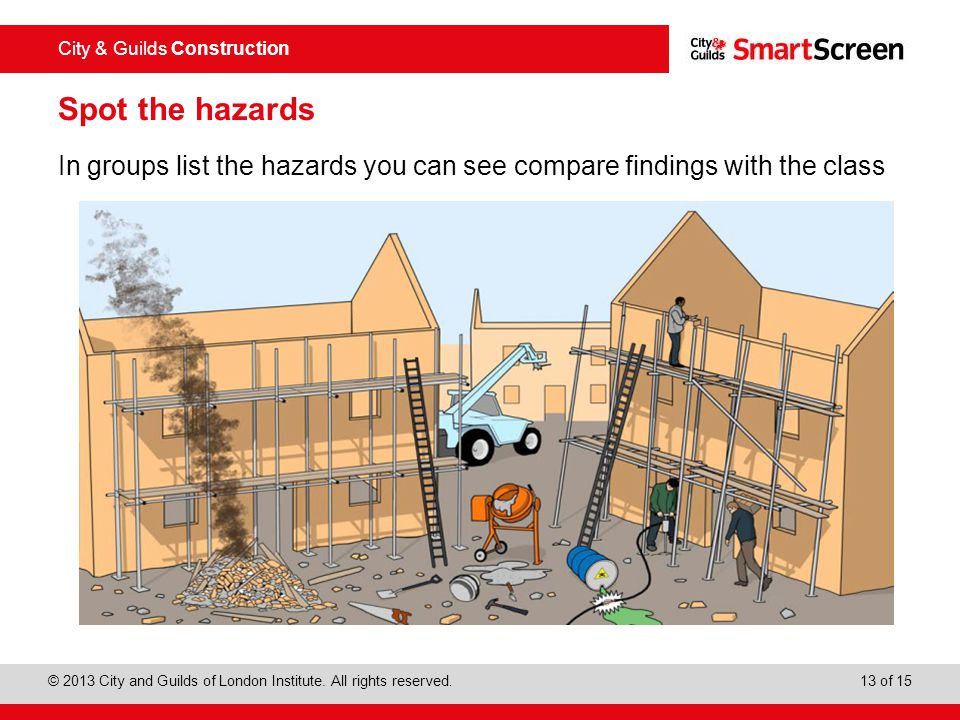 Spot the hazards In groups list the hazards you can see compare findings with the class