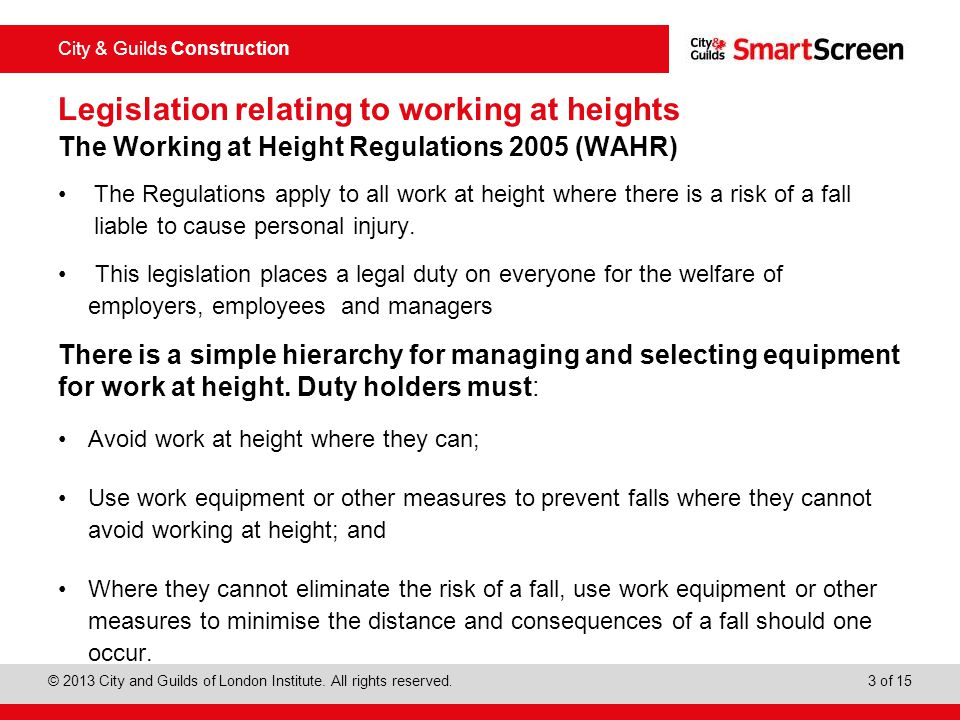 Legislation relating to working at heights