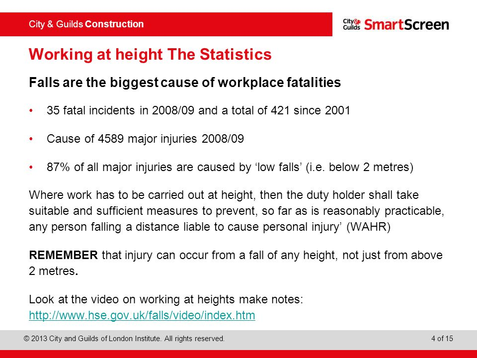 Working at height The Statistics