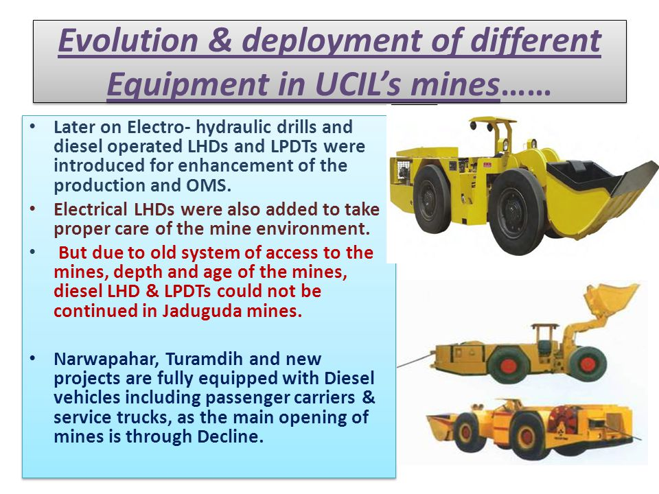 Evolution & deployment of different Equipment in UCIL's mines……