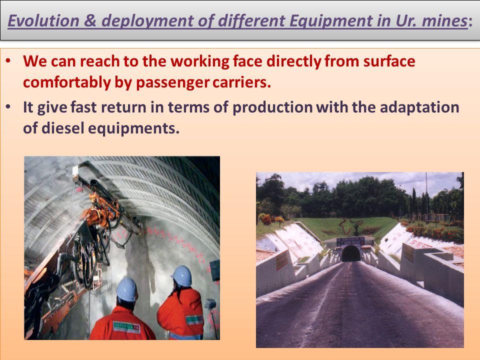 Evolution & deployment of different Equipment in Ur. mines: