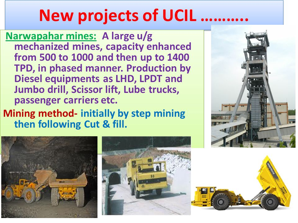 New projects of UCIL ………..
