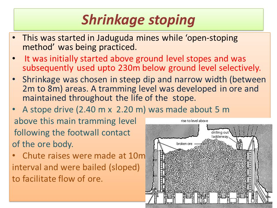Shrinkage stoping This was started in Jaduguda mines while 'open-stoping method' was being practiced.