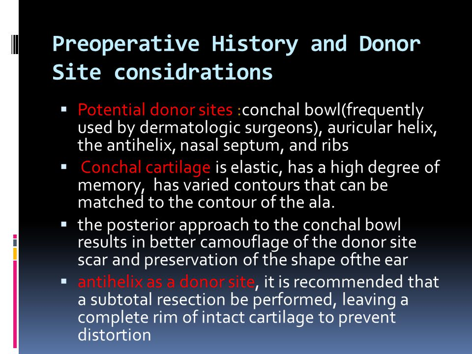 Preoperative History and Donor Site considrations