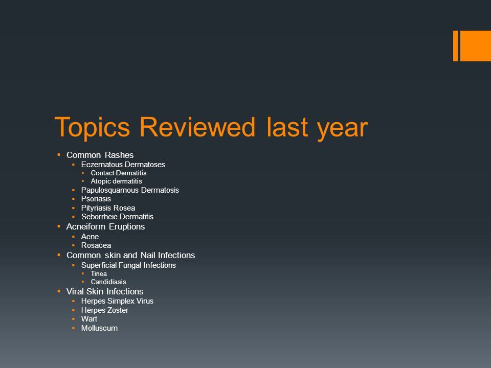 Topics Reviewed last year
