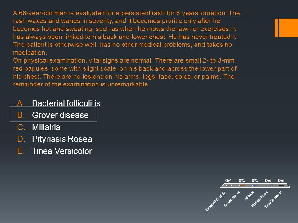 Bacterial folliculitis Grover disease Miliairia Pityriasis Rosea