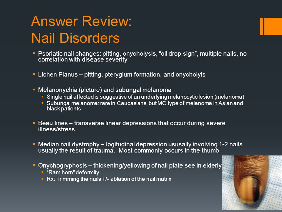 Answer Review: Nail Disorders