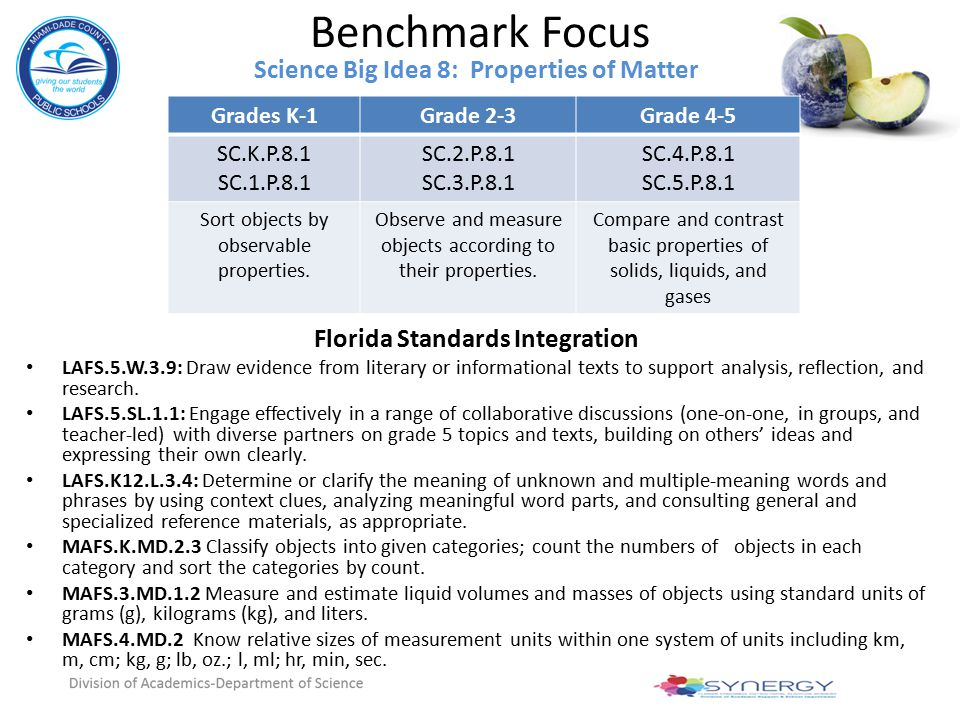 Science Big Idea 8: Properties of Matter Florida Standards Integration