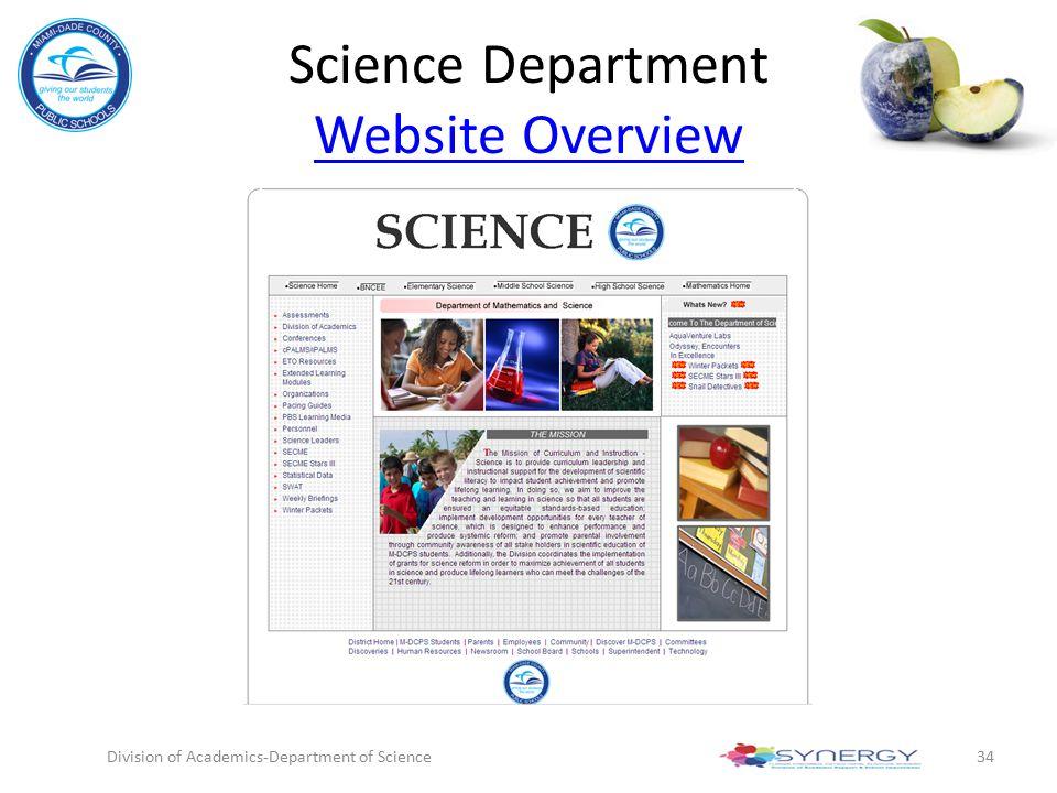 Science Department Website Overview
