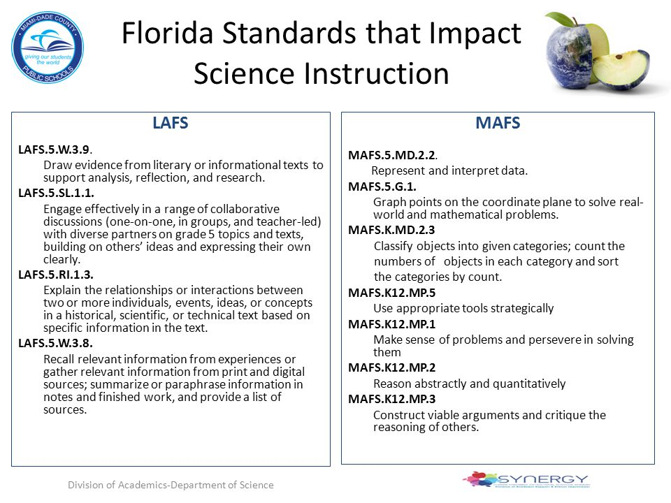 Florida Standards that Impact Science Instruction