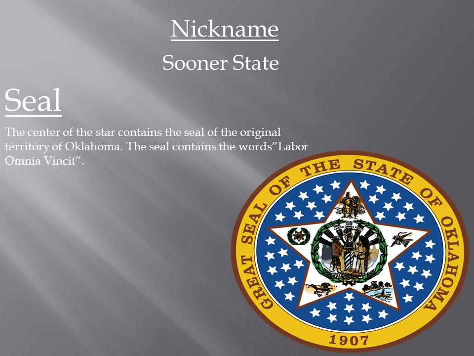 Seal Nickname Sooner State