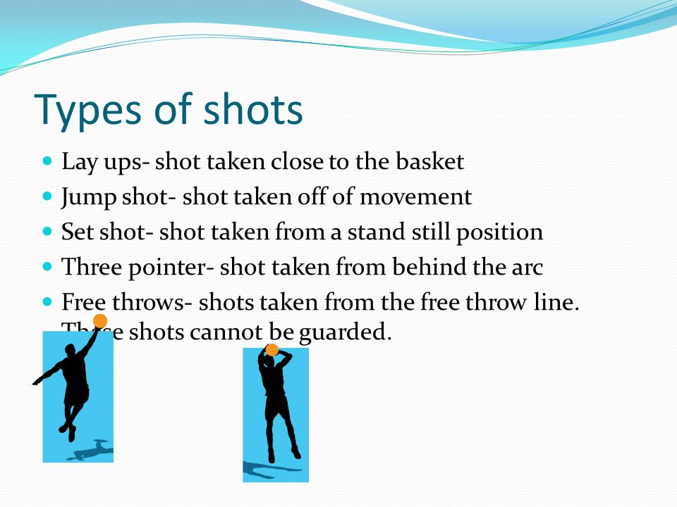 Types of shots Lay ups- shot taken close to the basket