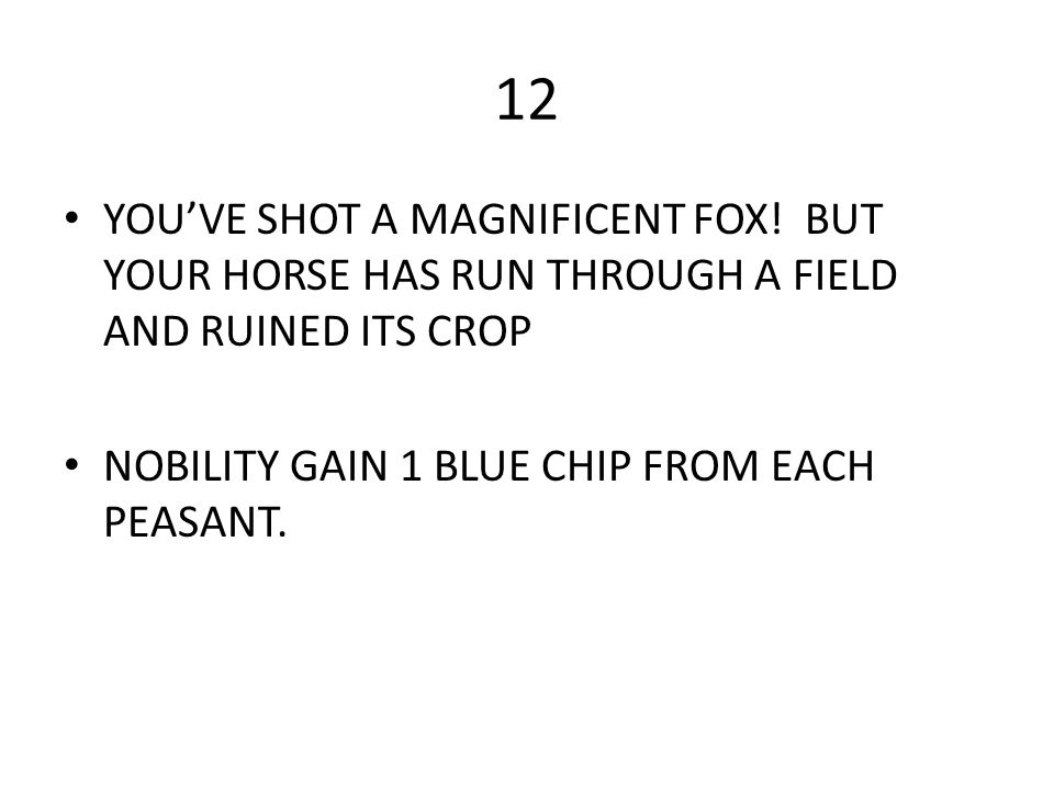 12 YOU'VE SHOT A MAGNIFICENT FOX. BUT YOUR HORSE HAS RUN THROUGH A FIELD AND RUINED ITS CROP.
