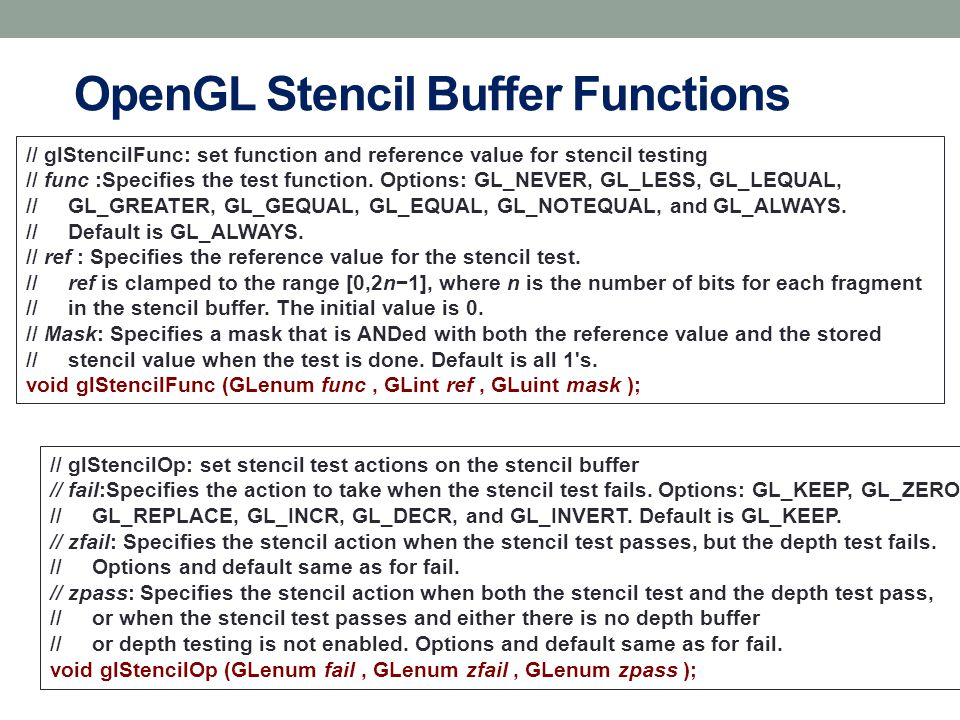 OpenGL Stencil Buffer Functions