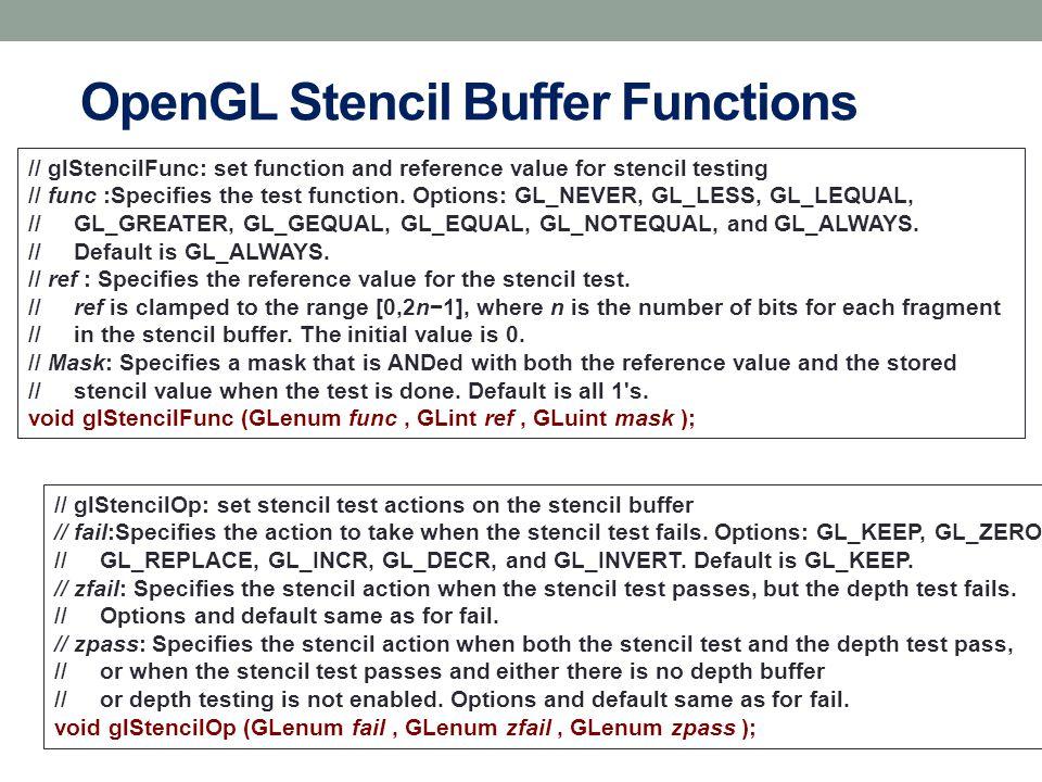 OpenGL Stencil Buffer Functions