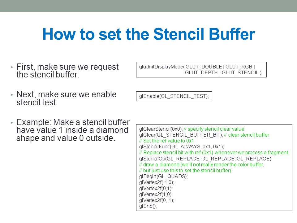 How to set the Stencil Buffer