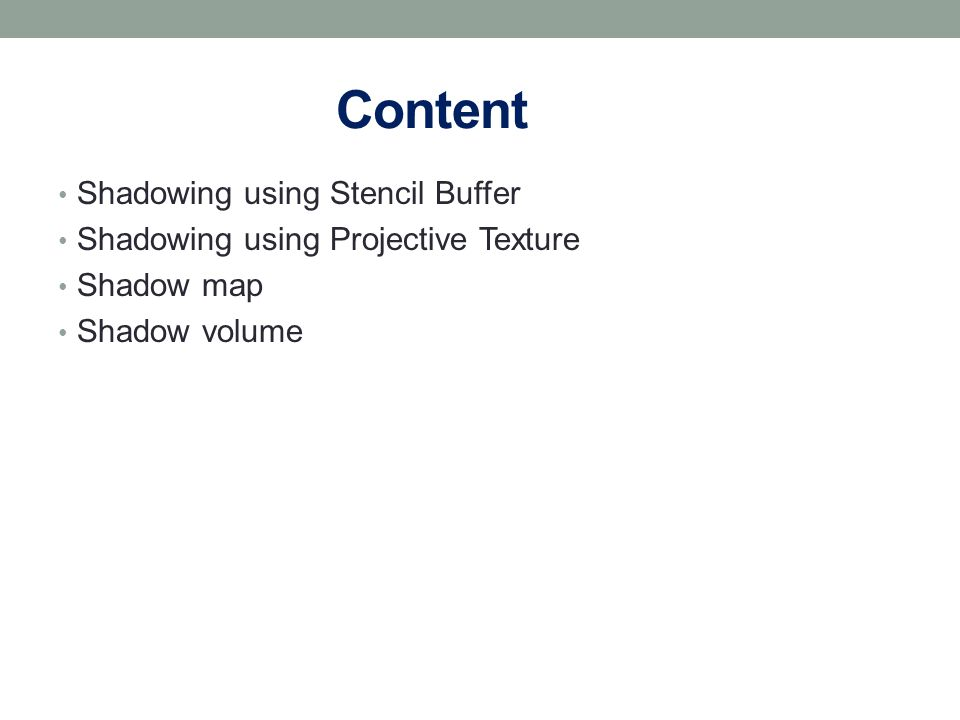Content Shadowing using Stencil Buffer