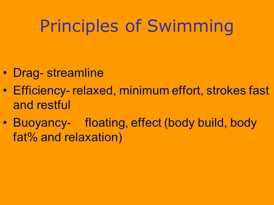 Principles of Swimming