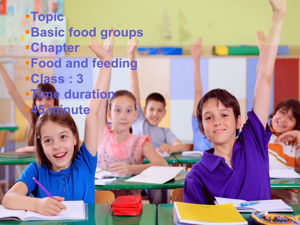 Topic Basic food groups Chapter Food and feeding Class : 3 Time duration 45 minute