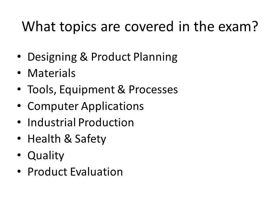 What topics are covered in the exam