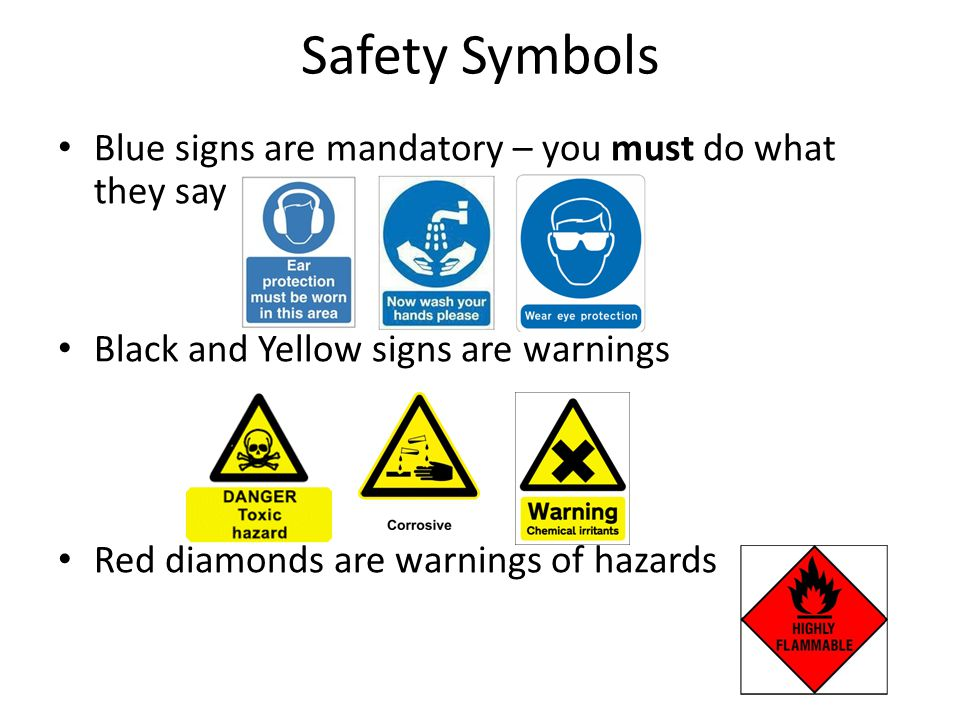 Safety Symbols Blue signs are mandatory – you must do what they say