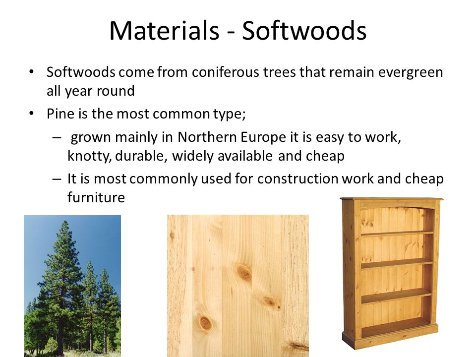Materials - Softwoods Softwoods come from coniferous trees that remain evergreen all year round. Pine is the most common type;