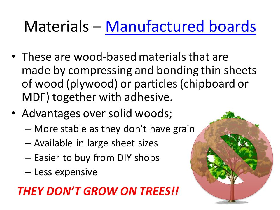 Materials – Manufactured boards