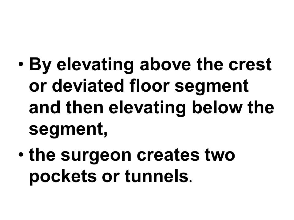By elevating above the crest or deviated floor segment and then elevating below the segment,