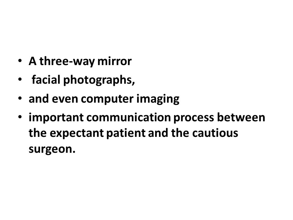 A three-way mirror facial photographs, and even computer imaging.