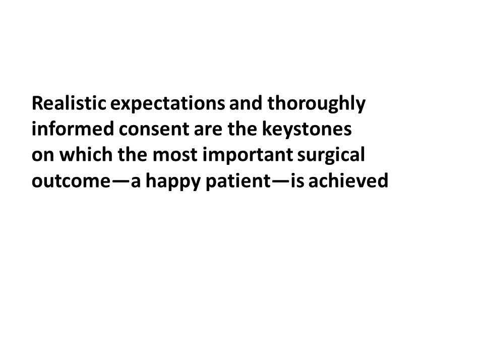 Realistic expectations and thoroughly informed consent are the keystones