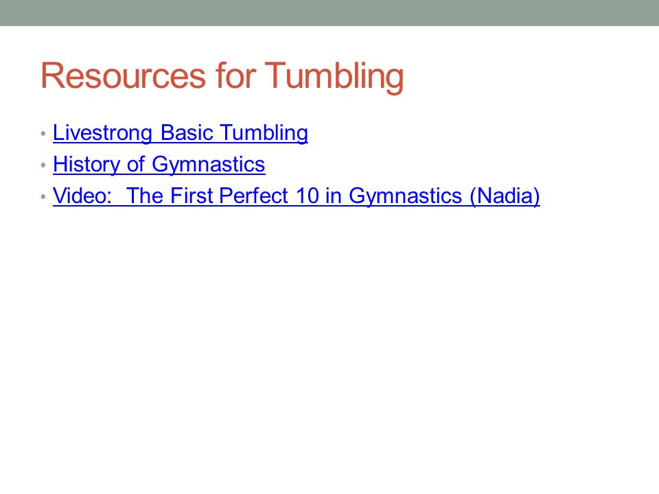 Resources for Tumbling