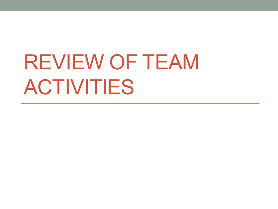 Review of Team Activities