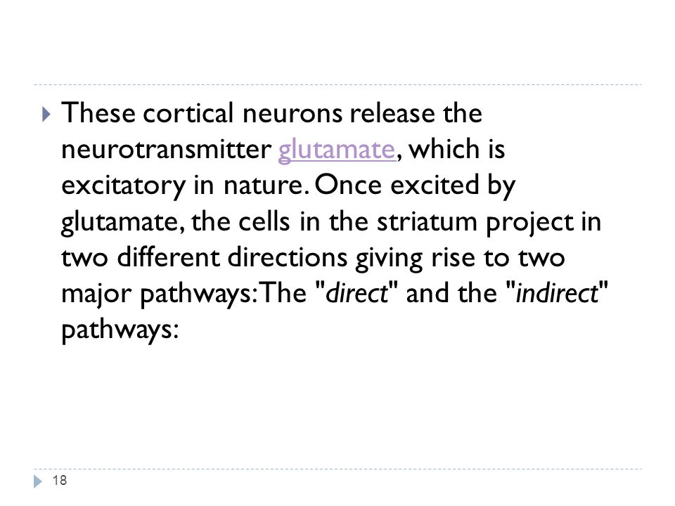 These cortical neurons release the neurotransmitter glutamate, which is excitatory in nature.