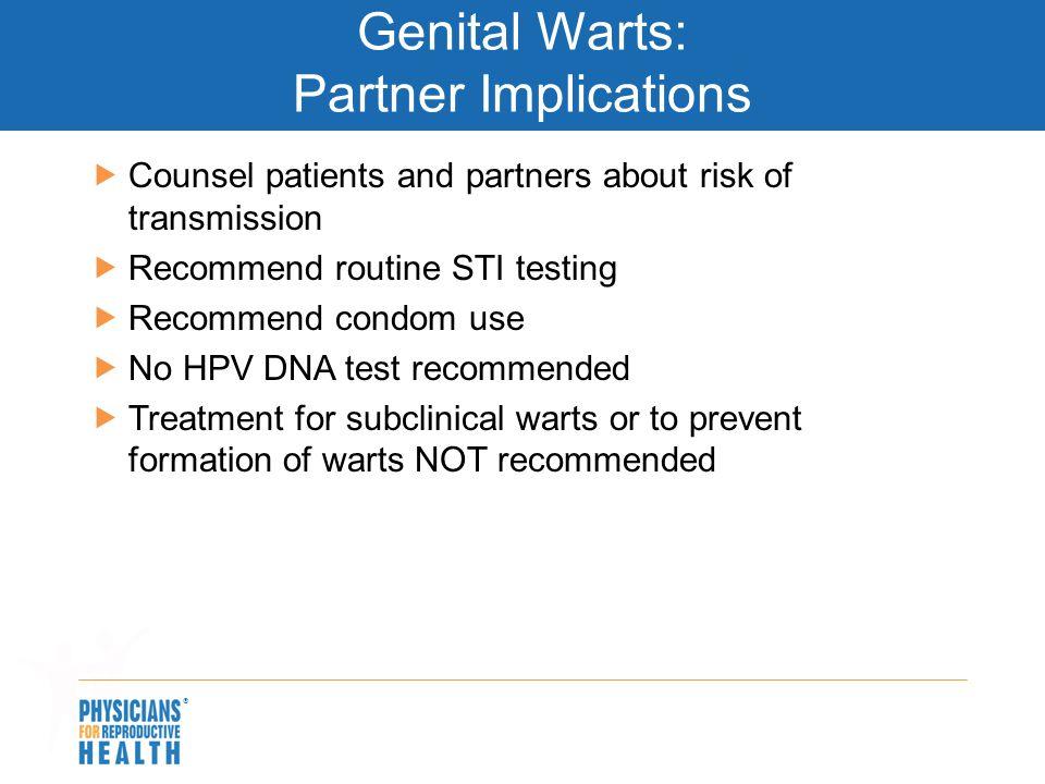 Genital Warts: Partner Implications