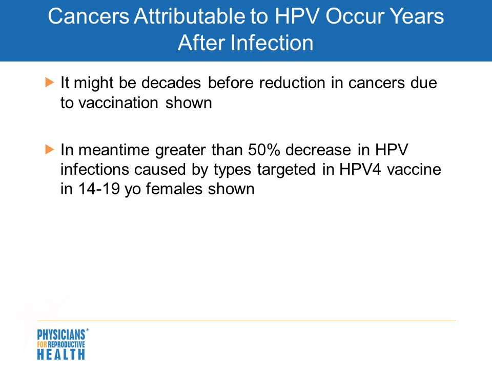Cancers Attributable to HPV Occur Years After Infection