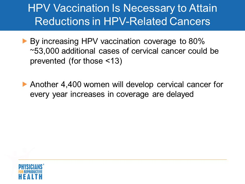 HPV Vaccination Is Necessary to Attain Reductions in HPV-Related Cancers