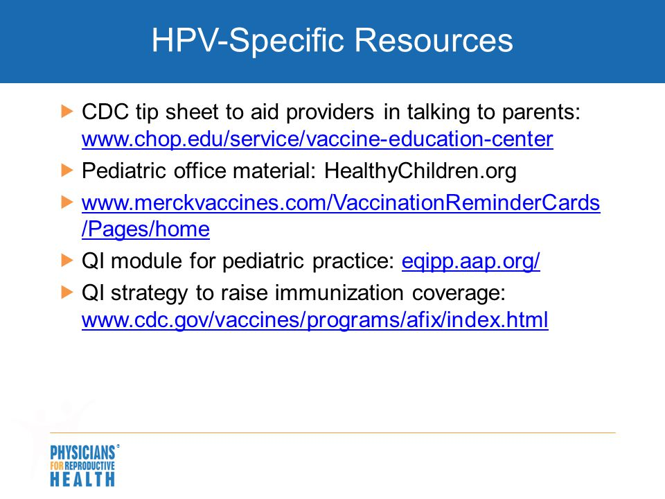 HPV-Specific Resources