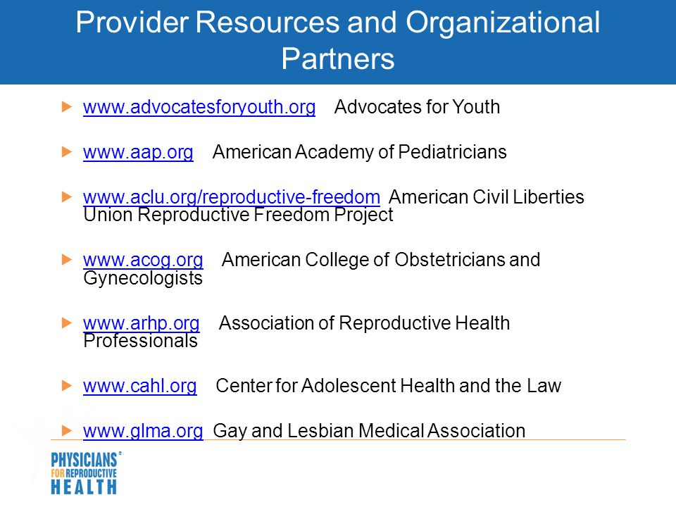 Provider Resources and Organizational Partners