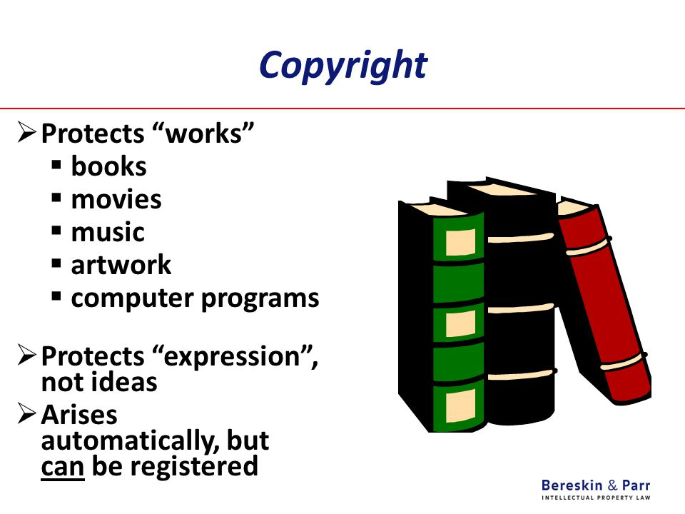 Copyright Protects works books movies music artwork