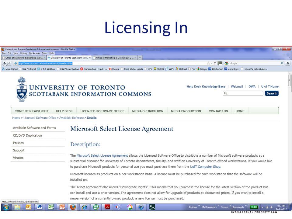 Licensing In