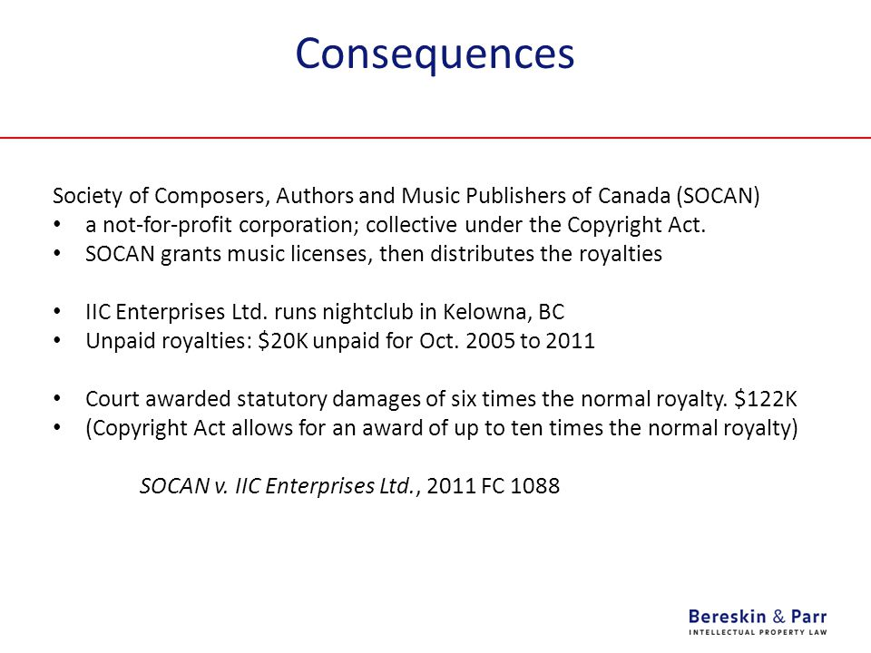 Consequences Society of Composers, Authors and Music Publishers of Canada (SOCAN)