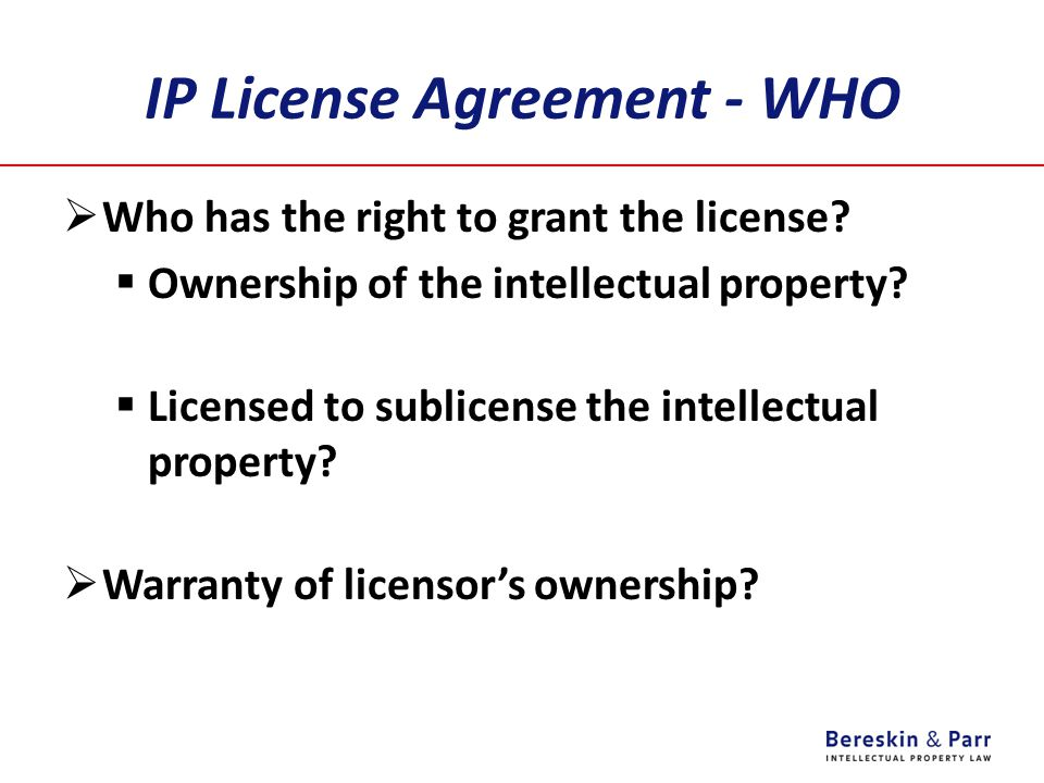 IP License Agreement - WHO