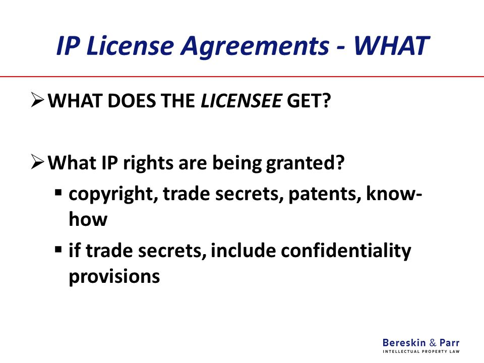 IP License Agreements - WHAT